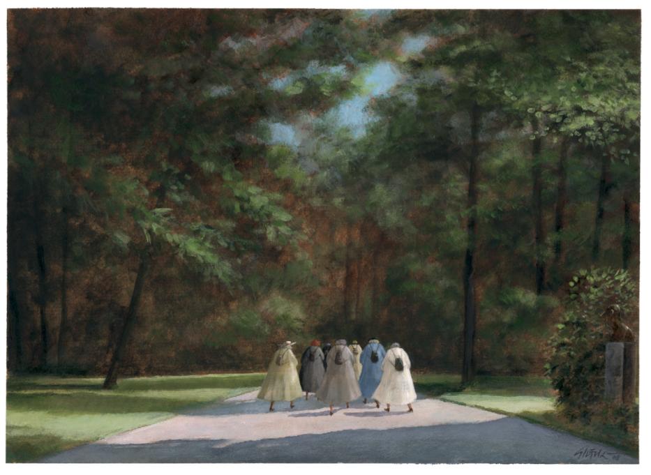 Frauengruppe unterwegs zu irgendeinem Kulturevent
