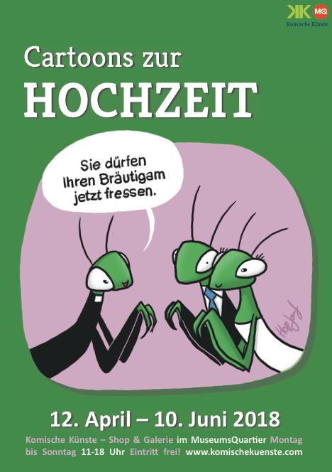 Plakat Cartoons zur Hochzeit Komische Künste Wien MuseumsQuartier