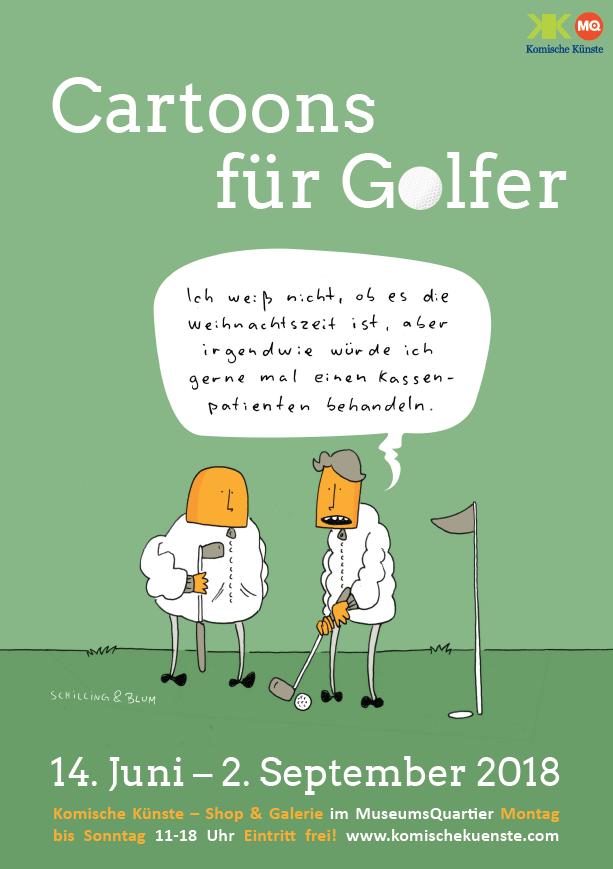 Cartoons für Golfer Ausstellung Komische Künste Wien MuseumsQuartier