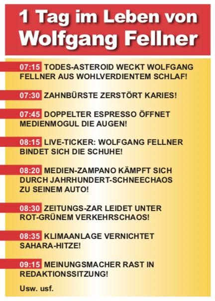 Jan Dosenwerfer 1 Tag im Leben von Wolfgang Fellner Postkarte Komische Künste Wien MuseumsQuartier