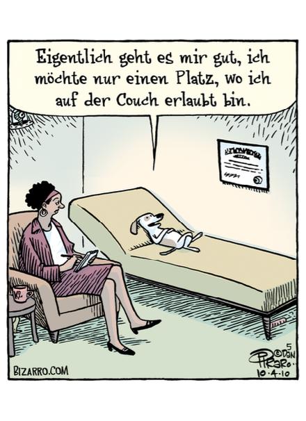Dan Piraro Auf der Couch Postkarte Komische Künste Wien